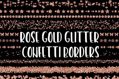 Rose Gold Glitter Confetti Borders