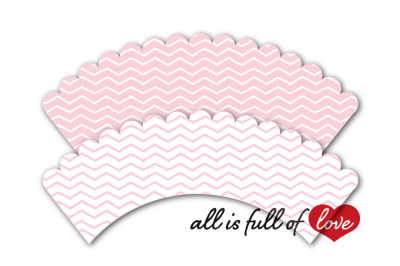 Pink Chevron Cupcake Wrappers to Print Chevron Cupcake holder printable