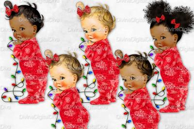Little Ruffle Pants Christmas Footie Pajama Vintage Baby