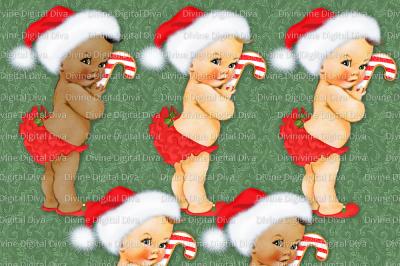 Ruffle Pants Vintage Baby Girl Set Christmas w/ Candy Cane