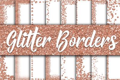 Rose Gold Glitter Borders Digital Paper