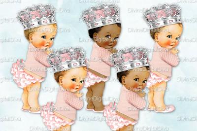 Ruffle Pants Vintage Baby Girl Set Winter Sweater w/ Ornate Crown