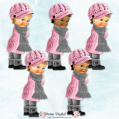 Vintage Baby Girl Set w/ Pink and Grey Winter Sweater