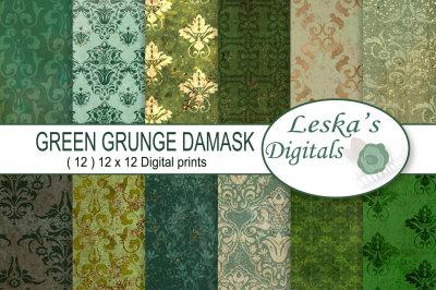 Green Grunge Damask Paper
