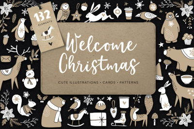 Welcome Christmas Scandinavian illustrations, cards, patterns