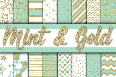 Mint and Gold Digital Papers