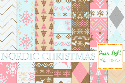 Nordic Christmas Digital Papers, Winter Backgrounds