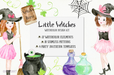 Little Witches Watercolor Design Kit