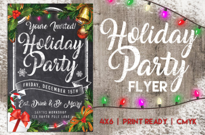Chalk Holiday Party Flyer