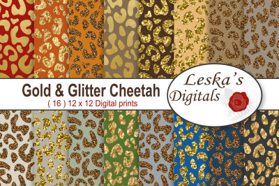 Gold & Glitter Cheetah Digital Paper