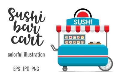 Japanese sushi rolls street food cart