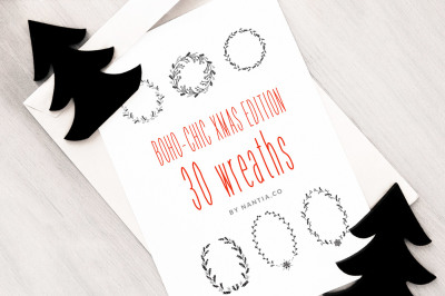 Boho-Chic Xmas Edition: 30 Christmas Vector Wreaths