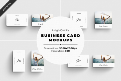 4 Business Card MockUps With Editable Templates