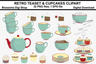 Retro Teaset & cupcakes clipart, 32 PNG files, 1 EPS file