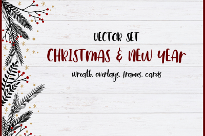 Christmas and New Year vector set.