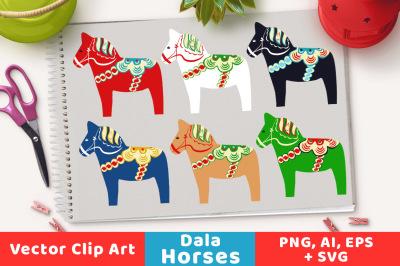 Dala Horse Clipart, Horse Clipart, Scandinavian Clipart, Swedish Clipart, Christmas Clipart, Animal Clipart