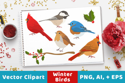 Winter Birds Clipart, Christmas Clipart, Winter Clipart, Holiday Clipart, Animal Clipart, Rustic Christmas