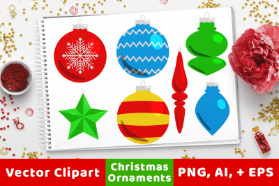 40 Christmas Ornaments Clipart, Holiday Clipart, Christmas Card Decoration, Christmas Graphics