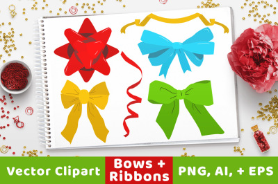 40 Holiday Bows + Ribbons Clipart, Christmas Bows, Ribbon Bow Clipart, Christmas Clipart, Holiday Clipart, Bow Vectors