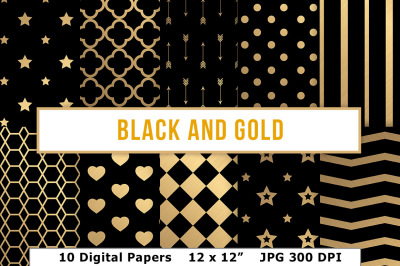 Black and Gold Digital Papers, Gold Foil Pattern, Gold Digital Paper, Gold Foil new Year's Eve Scrapbook Papers, Quatrefoil, Art Deco Paper