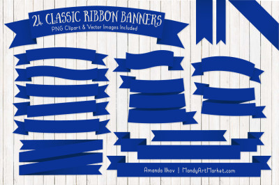 Classic Ribbon Banner Clipart in Royal Blue