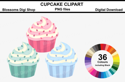 Cupcake Clipart, 36 multi colours PNG files