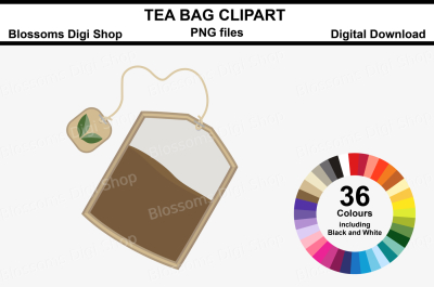 Tea Bag Clipart, 36 multi colours PNG files