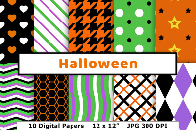 Halloween Digital Paper, Black and Orange Backgrounds, Green and Purple Patterns, Spooky Scrapbook Paper