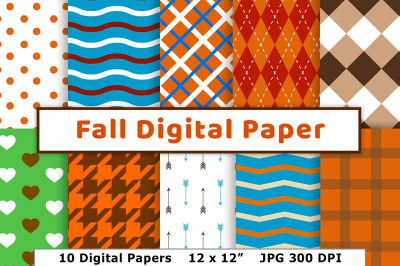 Fall Digital Paper, Autumn Digital Paper, Harvest Themed Scrapbook Paper, Thanksgiving Background