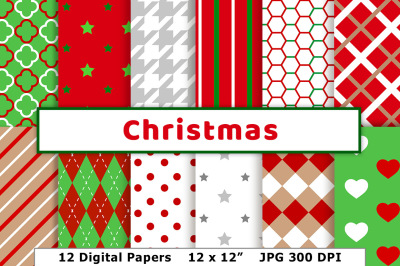 Christmas Digital Papers, Holiday Scrapbook Paper, Red and Green Patterns, Silver Christmas Paper