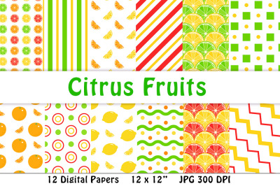 Citrus Fruit Digital Papers, Summer Digital Papers, Bright Yellow Digital Paper, Scrapbook Backgrounds