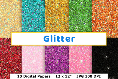 Glitter Digital Paper, Sparkle Scrapbook Paper, New Year's Background, Wedding Invitation Paper, Glitter Texture