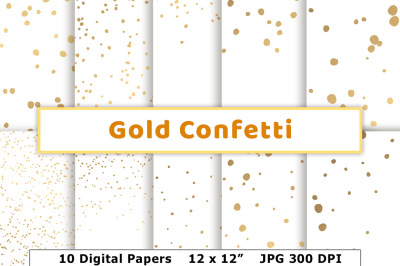 Confetti Gold Digital Papers, Wedding Confetti, Christmas, New Year's Eve, Gold Backgrounds