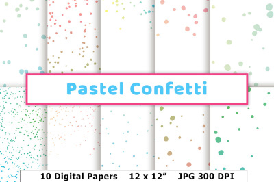 Pastel Confetti Digital Papers, Confetti Borders, Round Confetti Pattern, Birthday Party Confetti Digital Background
