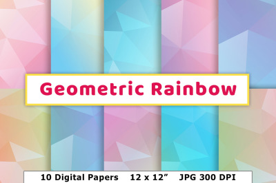 Pastel Rainbow Geometric Digital Paper, Pastel Digital Papers, Low Poly Paper, Colorful Background