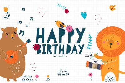 Baby animals - elements for Birthdays