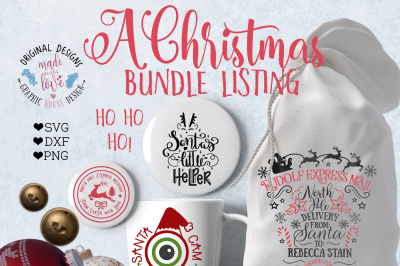 Christmas Bundle Cut Files (SVG, DXF, PNG)