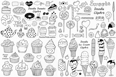 Big Set of Doodle Sweets clipart