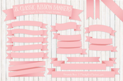 Classic Ribbon Banner Clipart in Soft Pink