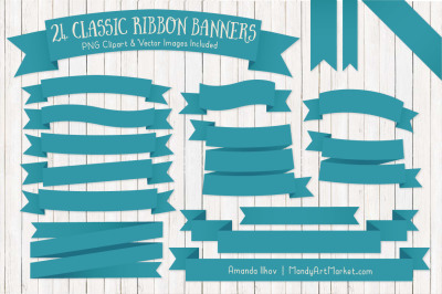 Classic Ribbon Banner Clipart in Vintage Blue