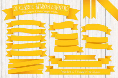 Classic Ribbon Banner Clipart in Yellow