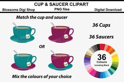 Cup and Saucer Clipart, 72 multi colours PNG files