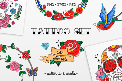 Watercolor tattoo set