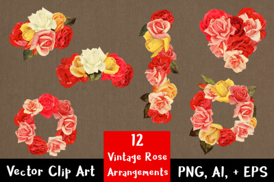 12 Vintage Rose Clipart Arrangements, Wedding Clipart, Rose Wreath Clipart, Rose Garland, Flower Clipart, Floral Clipart