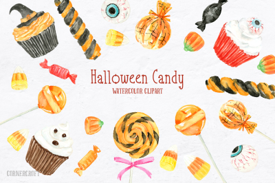 Watercolor Halloween Candy