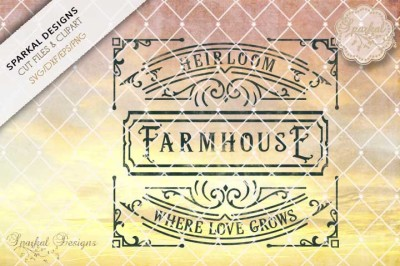Heirloom Farmhouse Wood Sign Stencil Cutting File