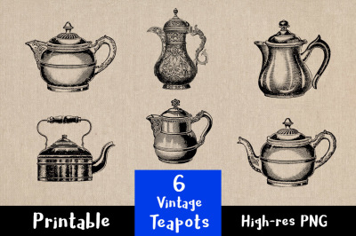 6 Vintage Teapots, Tea Kettle Clip Art, Tea Pot Clipart, Tea Pot Clipart