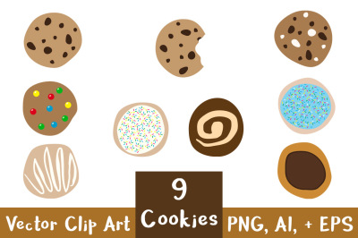 9 Cookies Clipart, Chocolate Chip Cookie Clipart, Dessert Clipart, Food Clipart, Baking Clipart