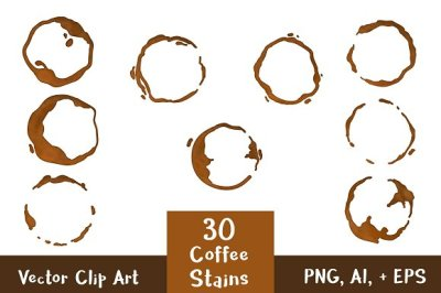 30 Coffee Stains Clipart- Watercolor + Black, Coffee Ring Clipart, Coffee Spill, Coffee Cup Stain