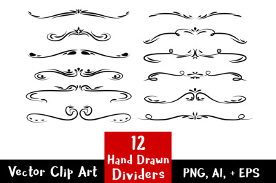 12 Hand Drawn Dividers, Wedding Clipart, Page Divider Clipart, Line Dividers, Flourish Clipart, Text Divider Clipart